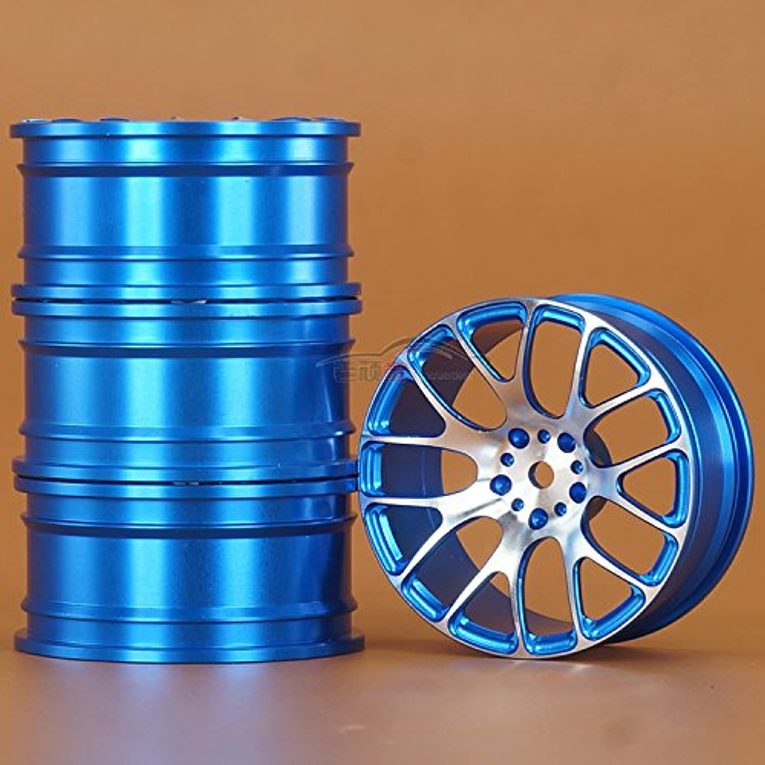 Hzjundasi 4PCS Blue Aluminium ホイールリム 10PP-047 for 1/10 RC On Road Drift Car Rally HSP 94123 94111 Sakura D4 CS