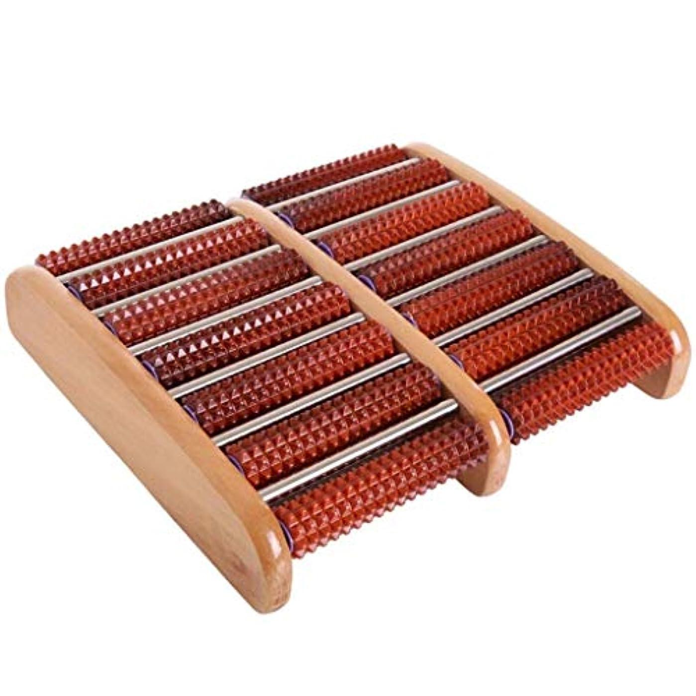 のぞき穴フェード花弁足裏筋膜炎のための圧力/かかととアーチの痛みを和らげ、筋肉をリラックスさせ、フットマッサージャーをする木製のフットマッサージローラー (Color : A)