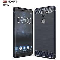 Yhuisen ウルトラライトカーボンファイバーアーマー耐震つや消しシリコーングリップケースの Nokia 9 / Nokia 8 Sirocco ( 色 : 海軍 )