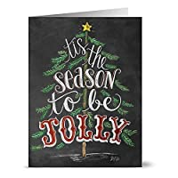 Tis the Season to be Jolly - 36 Chalkboard Note Cards - Blank Cards - Kraft Envelopes Included [並行輸入品]