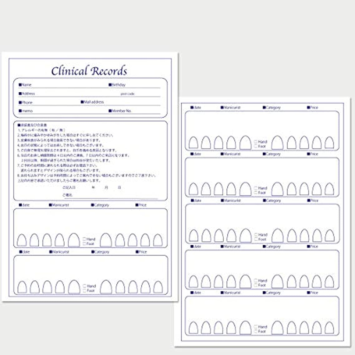 操作危険葡萄サロン名が指定可能なオリジナルネイルサロンカルテ/PDFファイルをDVDにて納品 (ブルー)