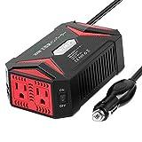 BESTEK 純正弦波 カーインバーター 300W 車載充電器 六つ保護機能 ACコンセント2口 USB2ポート DC12VをAC100Vに変換 12V車対応