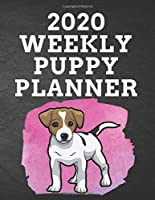 """2020 WEEKLY PUPPY PLANNER: 8.5""""x 11"""" 115 Page Jack Russell Terrier Dog Lover Gift with Pink on Black Back Academic Year At A Glance Planner Calendar With To-Do List and Organizer And Vertical Dated Pages. Pupper standing on a splash of pink. (Jack Russell Terrier 2020 Planners)"""