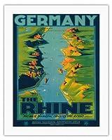 ドイツ - ライン川 - 「世界の最も美しい川」ウォルト・ホイットマン - リバーサイド都市、絵画とルートマップ - ビンテージな世界旅行のポスター によって作成された リチャード・フリーゼ c.1930s - キャンバスアート - 51cm x 66cm キャンバスアート(ロール)