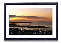 サンセットビーチビーチ - #40828 - 黒の実木枠 壁掛け モダン インテリア アート 風景画 装飾 壁飾り 部屋の装飾 写真 ポスターー - 60cmx40cm