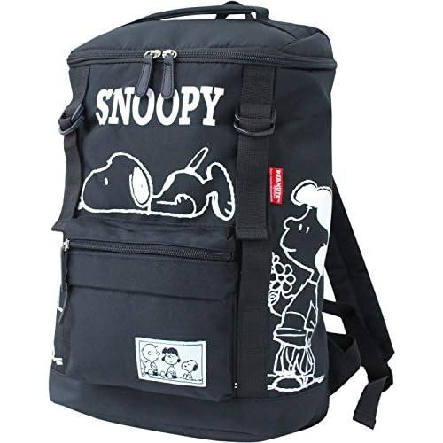 スヌーピー SNOOPY ナイロン ダブルベルト スクエア リュックサック (spb-640) (ブラック)