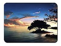 自然の風景の絵画、夜、木、湖、雲 パターンカスタムの マウスパッド 海 (22cmx18cm)