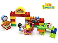 [リトルトレジャー]Little Treasures Build It Yourself Snap Together Building Brick Grocery Play Set with 38 Pcs Including Worker, Shopper, [並行輸入品]