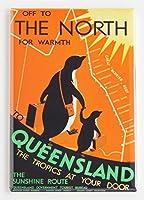 Queenslandオーストラリア旅行ポスター冷蔵庫マグネット(2.5X 3.5インチ)
