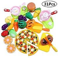 子供の台所のためのiBaseToyの切断の演劇の食糧、幼児、男の子および女の子のための食糧プラスチック食糧おもちゃ、ハンドバッグを含む、31 PC