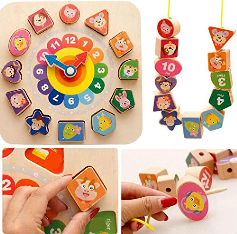 HuaQingPiJu-JP ブランドの新しい教育用木製時計玩具アーリーラーニングタイムナンバーシェイプ子供のための色の動物の認知玩具