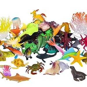 海洋 海の動物 フィギュア 60個パック ミニ プラスチック 深海 水中 生物 セット STEM 教育 シャワー バス おもちゃ ギフト 赤ちゃん 幼児 カップケーキ トッパー パーティー サプライ タートル タコ サメ