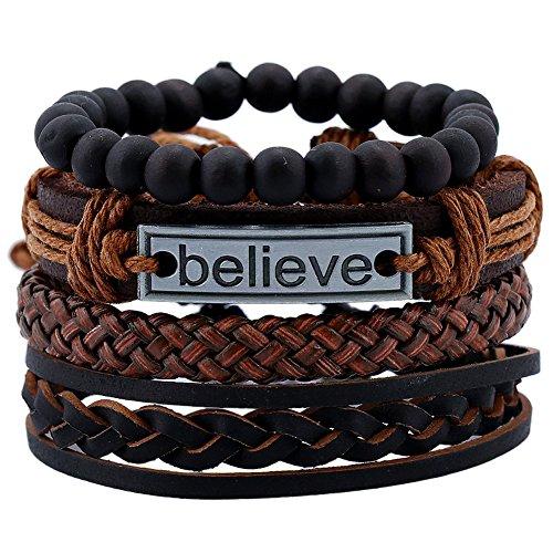 [해외][EasternStar] 남성 &  여성 팔찌 Men `s &  Ladies Bracelet 가죽 뜨개질 다층 비즈 핸드 로프/[EasternStar] Men`s &  Ladies Bracelet Men`s &  Ladies Bracelet Leather Strap Multilayer Beaded Hand Rope