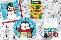 子供用クリスマステーブル塗り絵&アクティビティパーティーサプライパック: プレート、ナプキン、ステッカー、クレヨン、ペーパーアクティビティテーブルカバー8人まで。