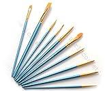 【Worldcosmetics365】ペイント ブラシ アクリル筆 10本 ブルー 水彩筆 油絵筆 絵筆 トールペイント 画筆
