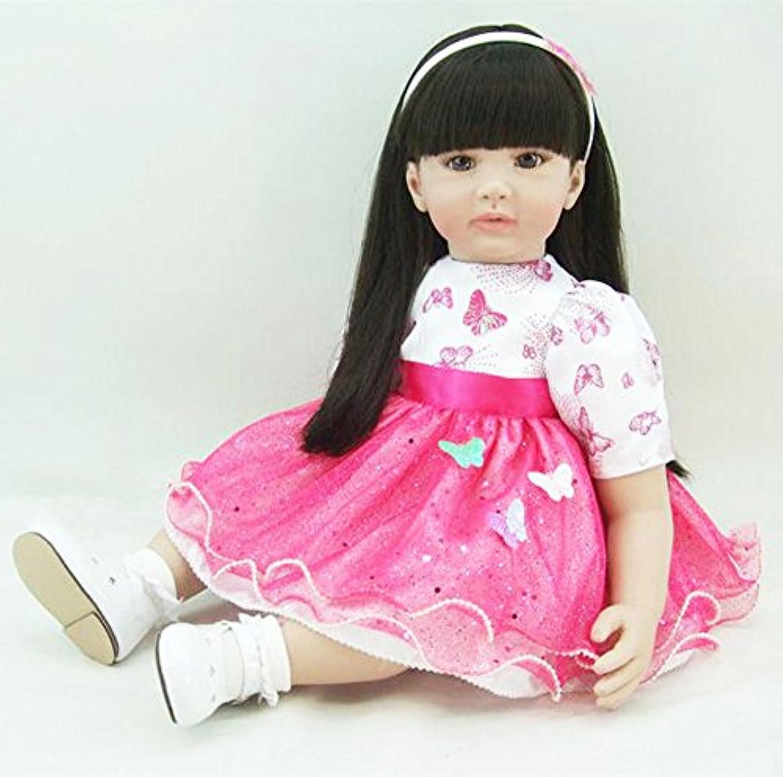 PursueベビーソフトボディリアルタッチLifelikeベビーガール人形、24インチ3 / 4ビニールリアルなWeighted Princess Toddler Doll Withブラックロングヘア