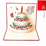 Paper Spiritz ケーキのキャンドル 立体 飛び出す カード 誕生日 グリーティングカード 多目的 出産祝い 入学 卒業 メッセージカード (赤)