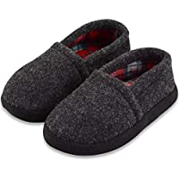 VLLY Boys/Little Kids House Winter Warm Comfy Plush Slip-on Slippers with Rubber Sole