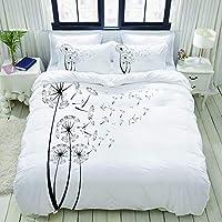 TARTINY 布団カバー シングル 3点セット,タンポポの白黒タンポポの種風に吹かれてふわふわの花のロマンスのテーマ, ベッド用 掛け布団 + 枕 カバー 洋式 和式兼用(150 x 210cm)