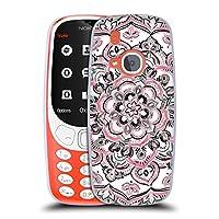 オフィシャル Micklyn Le Feuvre モノクロ&ピンク フローラル・パターン ソフトジェルケース Nokia 3310 (2017)