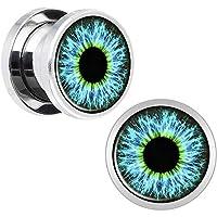 耳栓トンネルユニセックス 1ペア耳栓トンネルステンレス鋼パンクスタイル眼球パターン耳ゲージストレッチャーボディピアスジュエリー スピーカープラグボディピアス (サイズ : 16mm)