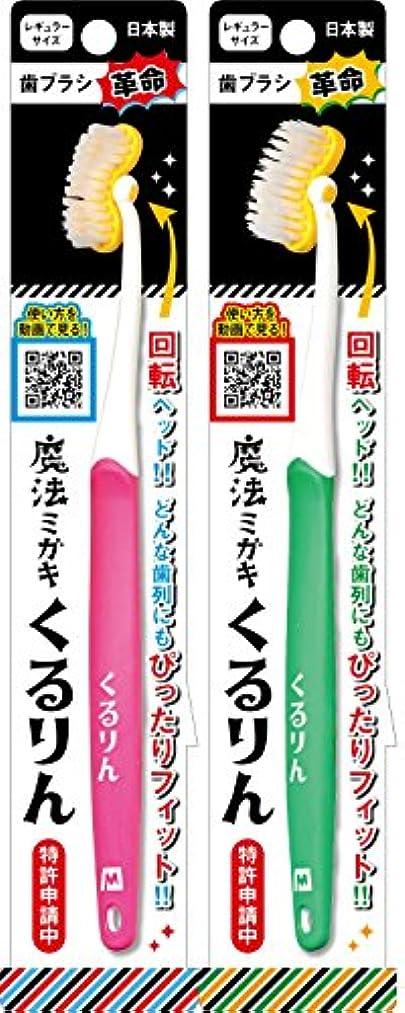 ブルーベル代わりにを立てる広々歯ブラシ 魔法ミガキ くるりん ピンク?グリーン 2本組