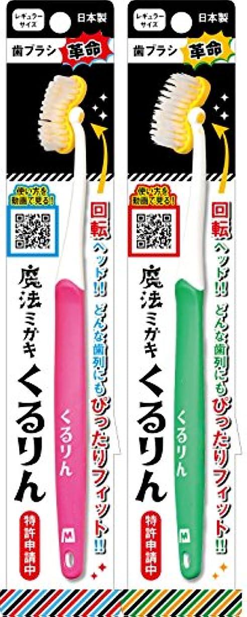 崇拝する定刻想像する歯ブラシ 魔法ミガキ くるりん ピンク?グリーン 2本組