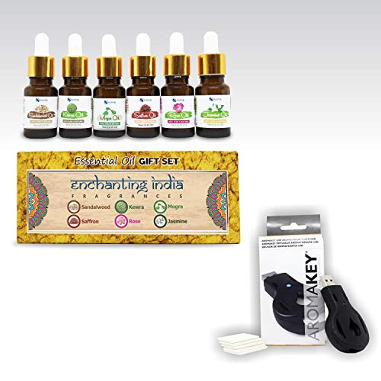 支配する頑丈頑丈Aromatherapy Essential Oils - Enchanting India (Pack of 6) 100% Pure & Natural Plus Aromakey USB Personal Diffuser...