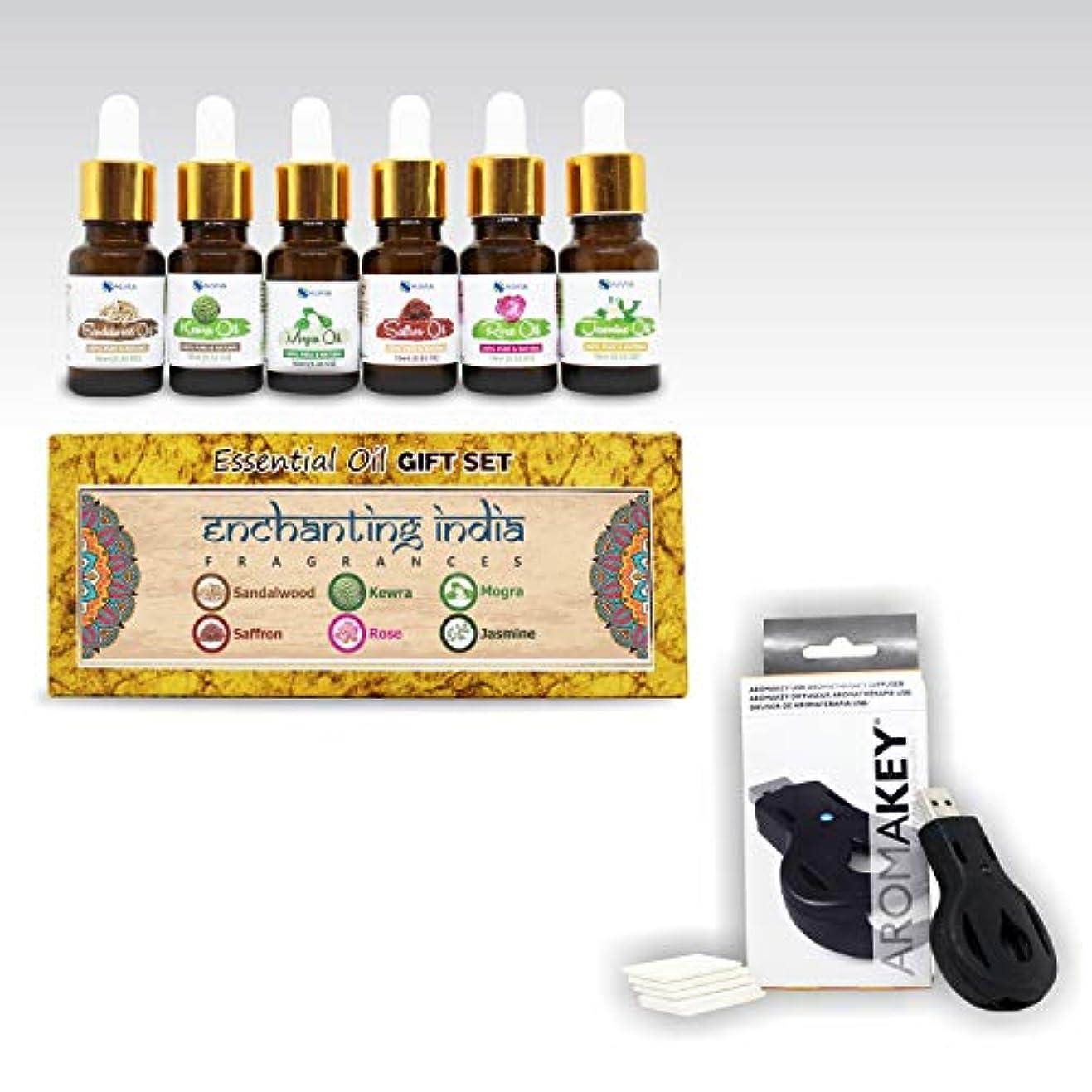 フェードアウト海峡ひもパンチAromatherapy Essential Oils - Enchanting India (Pack of 6) 100% Pure & Natural Plus Aromakey USB Personal Diffuser...