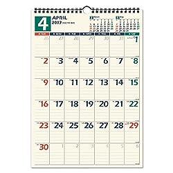 能率 2017年 カレンダー 2017 4月始まり 壁掛け B4 U128