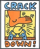 ポスター キース ヘリング Crack Down 1986 額装品 アルミ製ベーシックフレーム(ブラック)