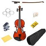FineLegend 高品質バイオリン 8点セット デジタルチューナー/ケース/スペア弦/松脂/クロス/弓/ブリッジが全て入っている豪華組み合わせ 最高級天然トウヒ表板/カエデ裏板側板 イタリアンニス仕上げ 子供用から大人用まで各種サイズのヴァイオリンをご用意 世界で一番売れているバイオリンメーカーのエントリーモデル 入門用に最適です。 (4/4 つや有り)