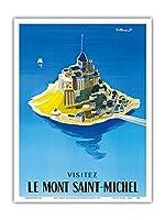 モン・サン・ミッシェルをご覧ください - ノルマンディー、フランス - ビンテージな世界旅行のポスター によって作成された ベルナール・ヴィユモ c.1955 - アートポスター - 23cm x 31cm