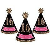 シック16日誕生日 – ピンク、ブラックとゴールド – Mini円錐Birthday Party Hats – Small Little Party Hats – 10のセット