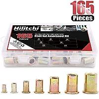 Hilitchi 150pcsミックス亜鉛メッキ炭素鋼リベットナット挿入Threaded Nutsert m456810