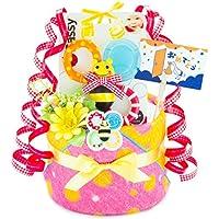 出産の祝い に 人気!sassy プレミアムパンパースで作ったかわいい オムツケーキ (ピンク)