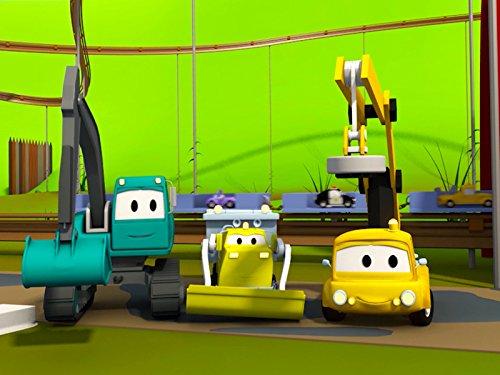 建設チーム: ダンプトラック、クレーン車とショベルカーがカーシティーにローラーコースター&迷路を建てる