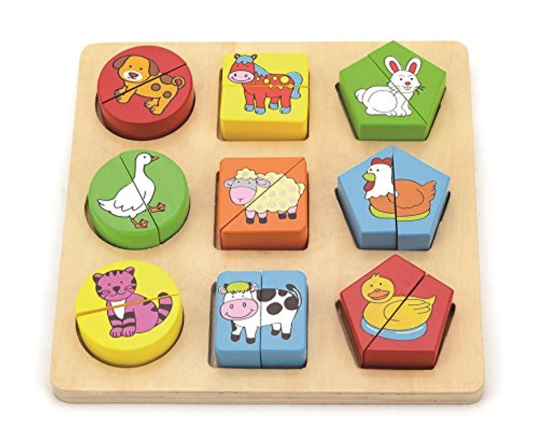 Shape Block Puzzle/Colour and Shape Sorter - Farm Animals