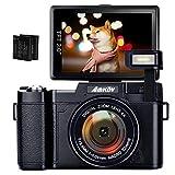 デジカメ デジタルカメラ HD 1080p 24.0MP 高画質 自撮りカメラ 180度反転画面 2つの800mAh充電式リチウムイオン電池が付属
