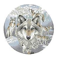 Perfeclan クロスステッチキット オオカミ柄 刺繍セット 正確なプリント DIY 初心者 全2種 - 14CT 38 x 38cm
