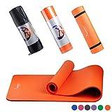 Syourself ヨガマット トレーニングマット エクササイズマット ゴムバンド・収納ケース付 厚さ10mm(Orange)