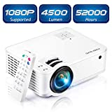 "Mini Projector [2020 Updated], Projector 1080P Supported, 4500 Lux 210"" Display with 52,000 Hrs LED Movie Projector Compatible with Phone,Computer,Laptop,USB,HDMI,VGA,SD PONER SAUND"