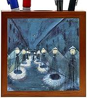 Rikki Knight Walter Gramatte Art Night Road Design 5-Inch Wooden Tile Pen Holder (RK-PH3181) [並行輸入品]