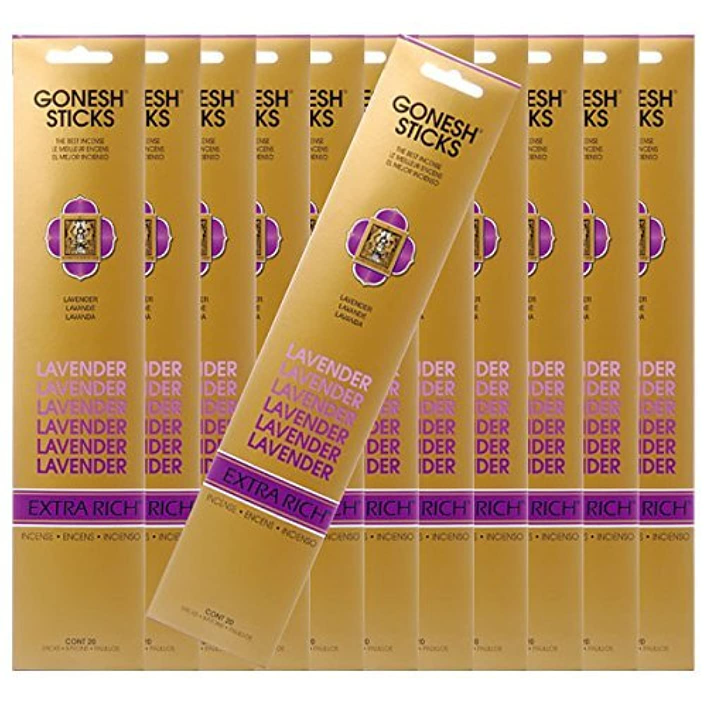 一握り解放するワークショップGONESH ガーネッシュ お香スティック Lavender -ラベンダー- x12パックセット(合計240本入り)