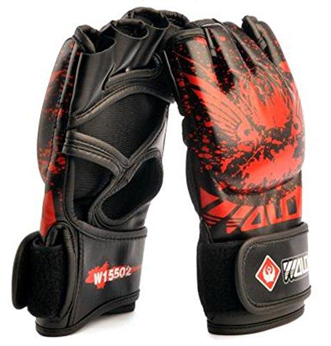 yemsy style オープンフィンガー ボクシング グローブ MMA UFC スパーリング ハーフフィンガー 拳ガード ボクササイズ 練習用 パンチング ミット ムエタイ テコンドー 空手 総合 格闘技 トレーニング フィットネス 収納袋 付き (01: ブラック)