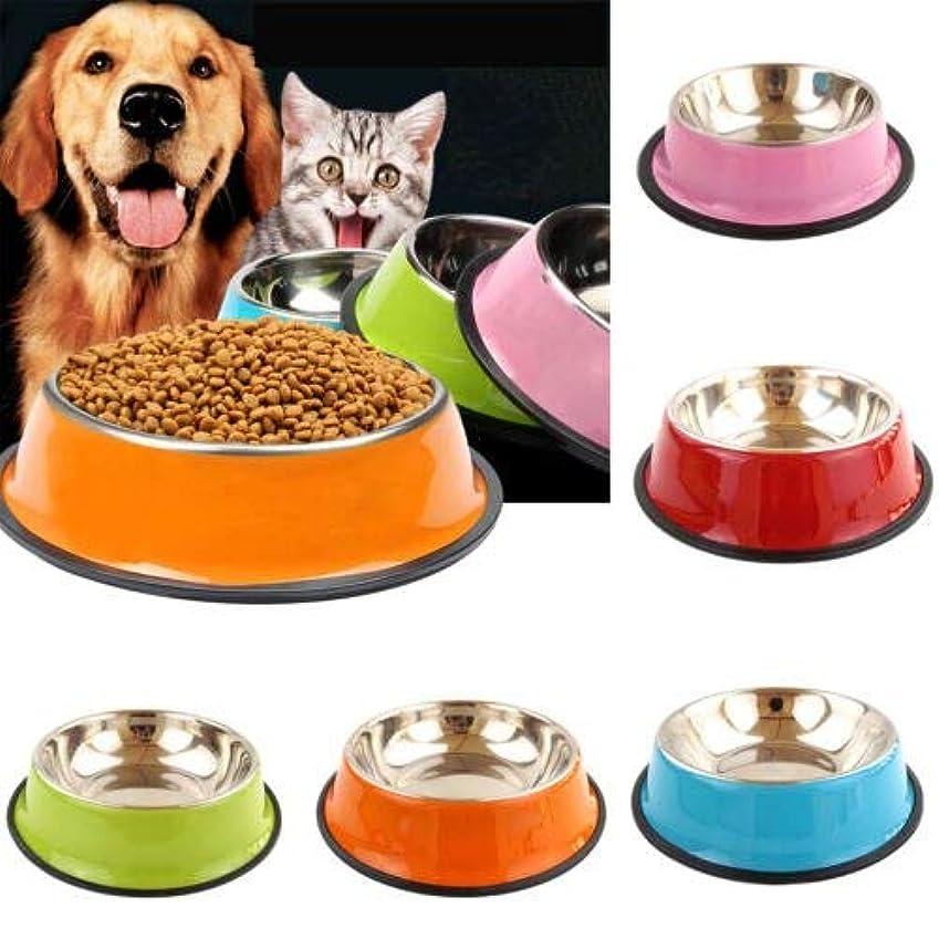 ペット給餌ボウル抗スキッドステンレス鋼旅行食品水猫犬皿犬猫子犬 6 色 (オレンジ)