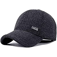 YAKER Men's Winter Warm Woolen Peaked Baseball Cap Hat With Earmuffs Metal Buckle (C Black)
