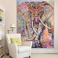 象の壁掛け毛布壁の装飾生地綿手描きの民族風タペストリー家の装飾毛布/タペストリー/ビーチタオル/テーブルクロス/ヨガマット (Color : F, Size : 80 x 60 inches)