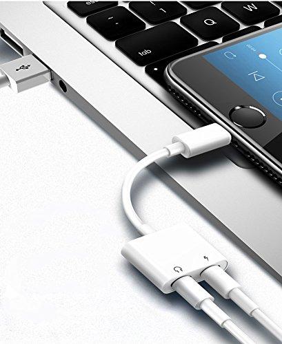 『Sanfic iPhone X/8/8plus/7/7plus(IOS11対応) iphone イヤホン変換アダプタ 2in1 イヤホン充電 イヤホン変換 変換ケーブル lightning変換コネクタ(ホワイト)』の6枚目の画像