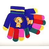 キッズ・ジュニア・子供用 どうぶつのデザイン カラフル アニマルデザイン ウインターマジックグローブ 冬用手袋 (ワンサイズ) (ブルー(イヌ))